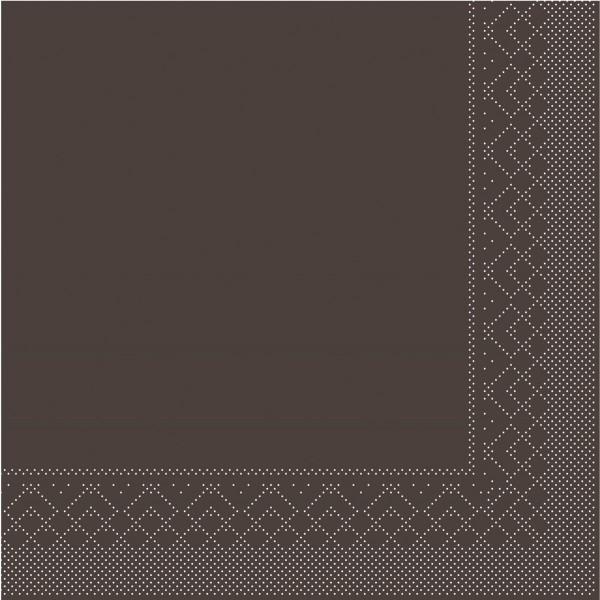 Cocktail-Servietten Braun aus Tissue 25 x 25 cm, 100 Stück