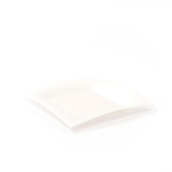 Einweg-Dessertteller aus Plastik (PP), Perlmutt-Weiss, 180x180mm, 8 Stück