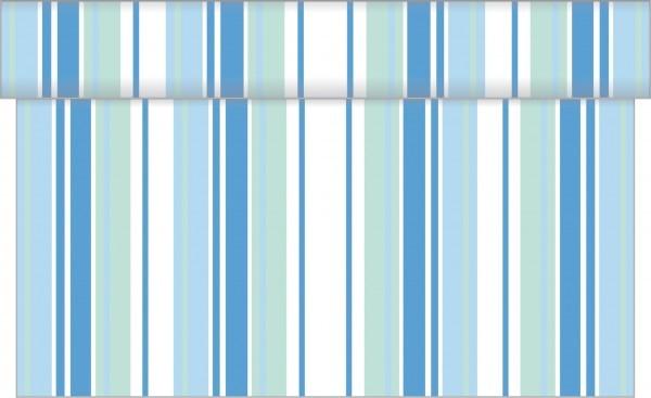 Tischläufer Lines in Weiß-Blau aus Linclass® Airlaid 40 cm x 4,80 m, 1 Stück