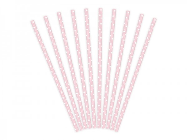 Strohhalme aus Papier, rosa-weiß, Sweets, 10 Stück