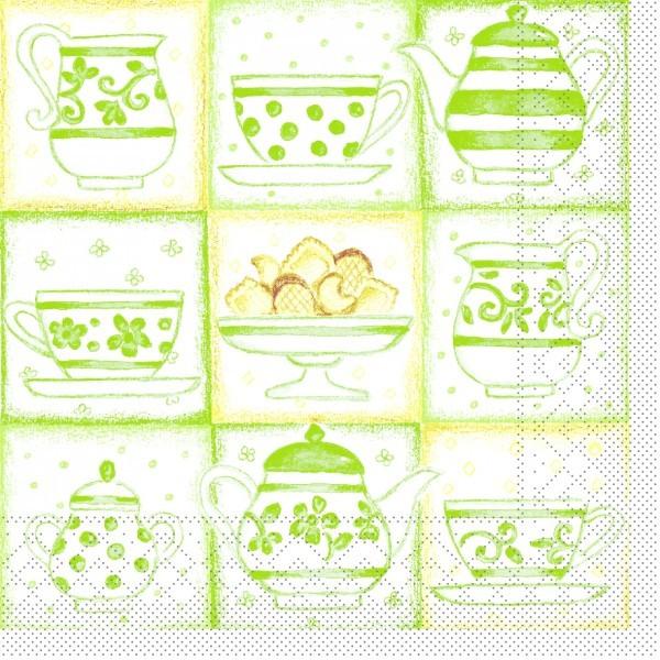 Serviette Cookie in Grün aus Tissue 33 x 33 cm, 20 Stück