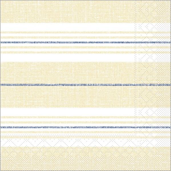 Serviette York in blau-beige aus Tissue 40 x 40 cm, 100 Stück