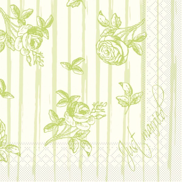 Serviette Hochzeit in Champagner-Grün aus Tissue 33 x 33 cm, 20 Stück
