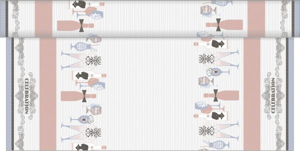 Tischdeckenrolle Celebration in Grau-Rosa aus Linclass® Airlaid 120 cm x 25 m, 1 Stück