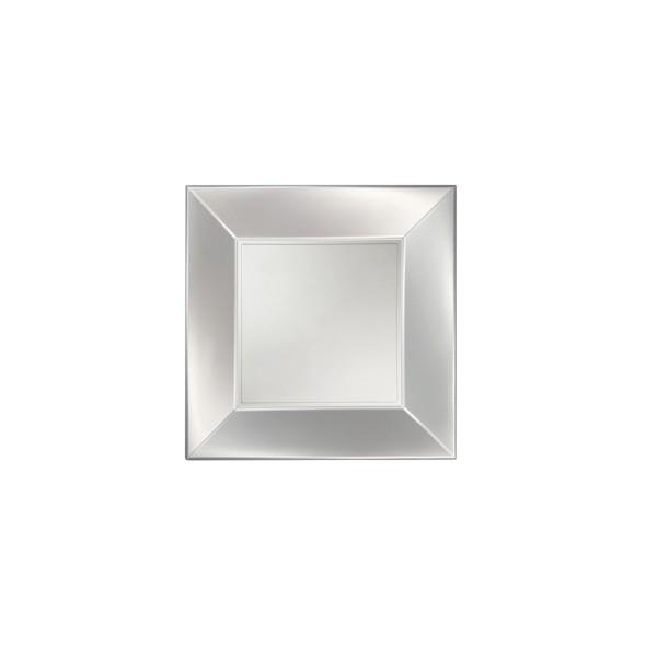 Einweg-Teller aus Plastik (PP), flach, Perlmutt-Weiss, 230x230mm, 8 Stück