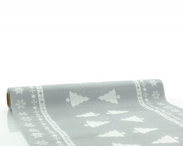 Tischläufer White Tree in Silber aus Linclass® Airlaid 40cm x 4,80m, 1 Stück