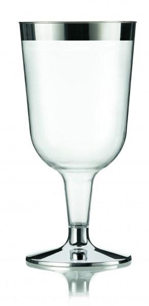 Einweg-Weinglas metallisiert aus Plastik, 13,6 cm, 12 Stück