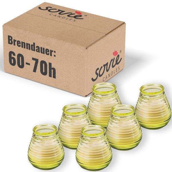 Glaswindlicht Flairlight in Gelb, Brenndauer ca. 60-70 Std., Kerze im Glas - 6 Stück