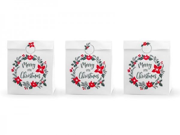XL Geschenktüten Weihnachten/ Merry little Christmas weiß, 3 Stück groß mit Sticker (25 x 11 x 27)