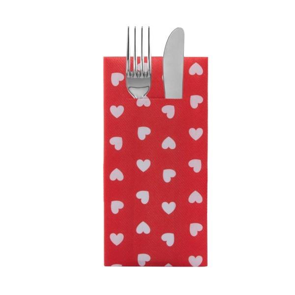 Besteckserviette Love in Rot aus Linclass® Airlaid 40 x 40 cm, 12 Stück