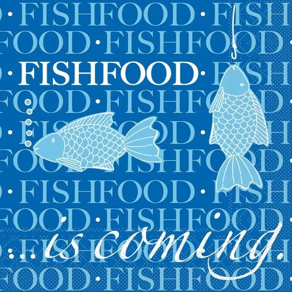 Serviette Fishfood aus Tissue 33 x 33 cm, 20 Stück