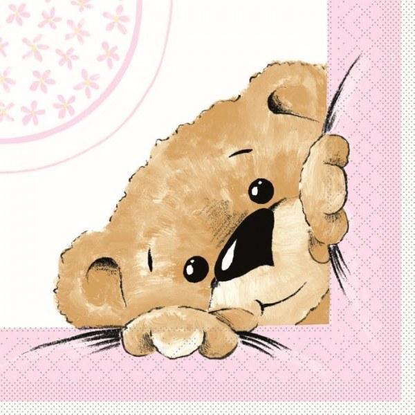 Serviette Teddy in Rosa aus Tissue 33 x 33 cm, 20 Stück