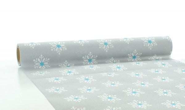 Tischläufer Snowflakes in Silber-Türkis aus Linclass® Airlaid 40cm x 4,80 m, 1 Stück