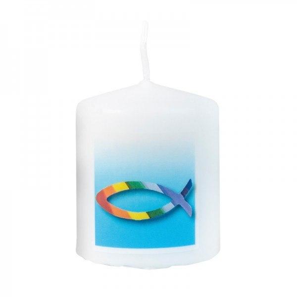 Stumpenkerze Konfirmation/Kommunion mit Regenbogenfisch, 1 Stück