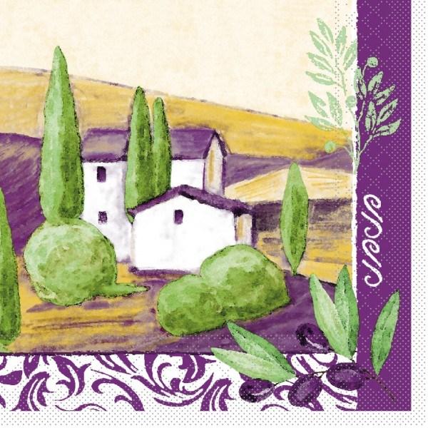 Serviette Provence aus Tissue 33 x 33 cm, 20 Stück
