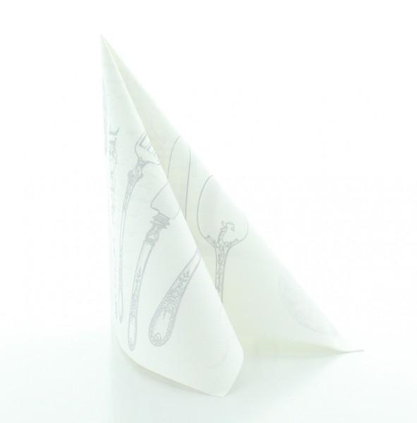 Serviette Elisabeth in Silber-Weiss aus Linclass® Airlaid 40 x 40 cm, 50 Stück