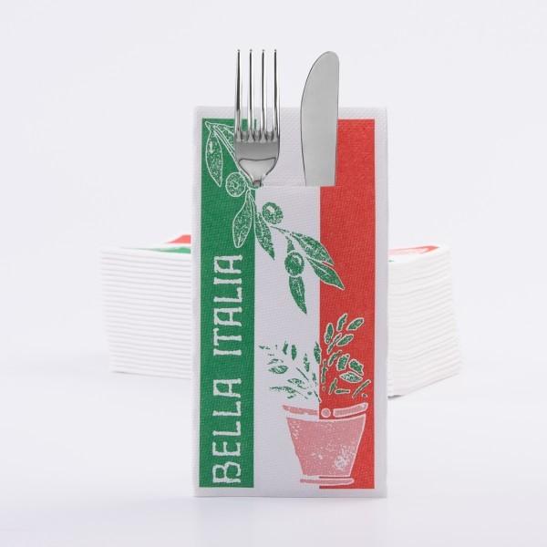Besteckserviette Bella Italia in grün aus Tissue Deluxe®, 4-lagig, 40 x 40 cm, 100 Stück
