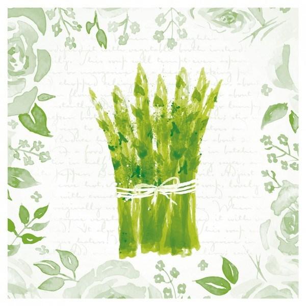Serviette Spargel in Weiss-Grün aus Linclass® Airlaid 40 x 40 cm, 12 Stück