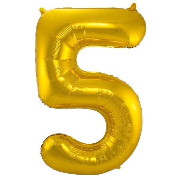 XL Folienballon Zahl 5 in gold, 86 cm, 1 Stück, Helium Ballon (unbefüllt)