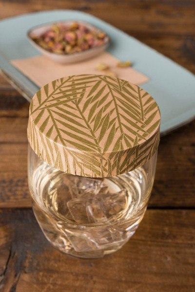 Glasabdeckungen aus hochwertigem Karton, Botanic in Braun-Grün, Ø 74 mm, 200 Stück