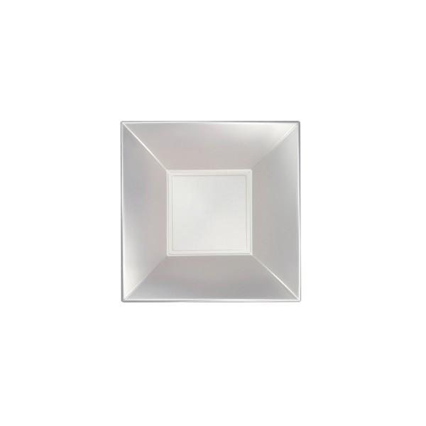 Einweg-Teller aus Plastik (PP), tief, Perlmutt-Weiss, 180x180mm, 8 Stück