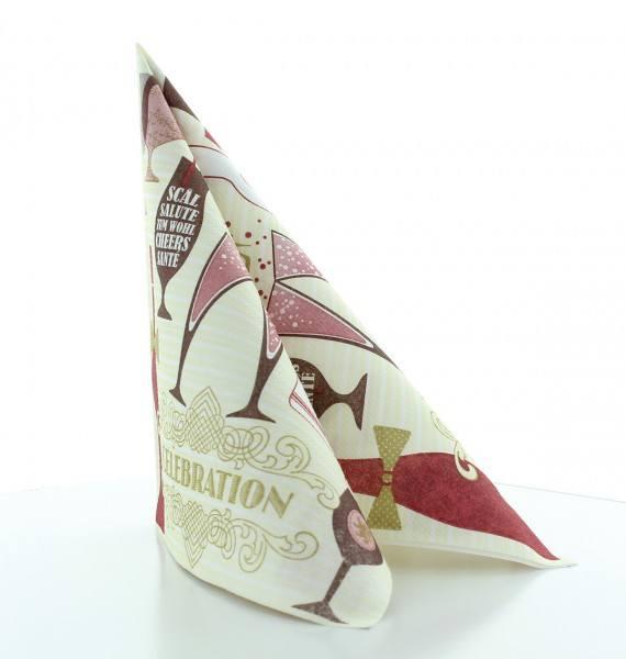 Serviette Celebration in Champagner-Bordeaux aus Linclass® Airlaid 40 x 40 cm, 50 Stück