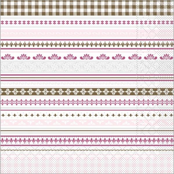 Serviette Babette in braun-rosa aus Tissue 40 x 40 cm, 100 Stück
