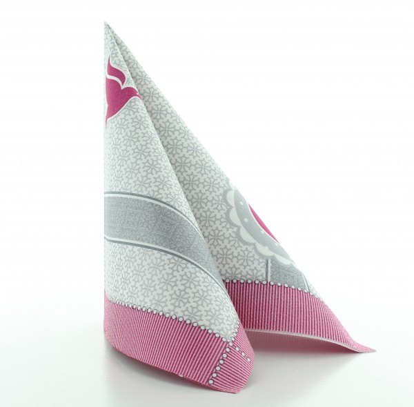 Serviette Kelch-Taube in pink aus Linclass® Airlaid 40 x 40 cm, 50 Stück