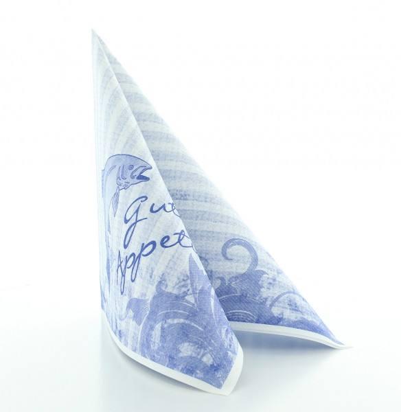 Serviette Fisch in Blau aus Linclass® Airlaid 40 x 40 cm, 50 Stück