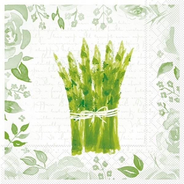Serviette Spargel in Weiß-Grün aus Tissue 33 x 33 cm, 20 Stück
