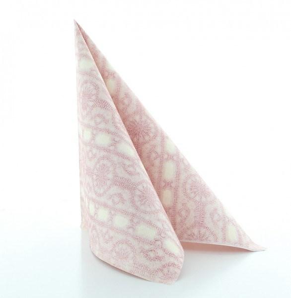 Serviette Stefanie in creme-bordeaux aus Linclass® Airlaid 40 x 40 cm, 50 Stück