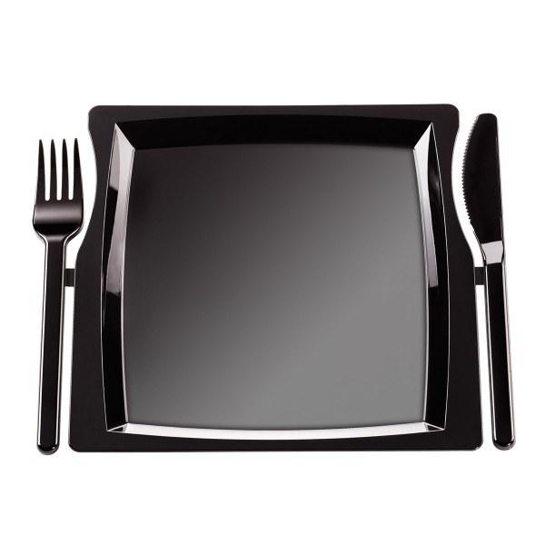 Einweg-Party Plate MILAN inkl. Besteck aus Plastik, 23,5 x 19,6 cm, Schwarz, 10 Stück