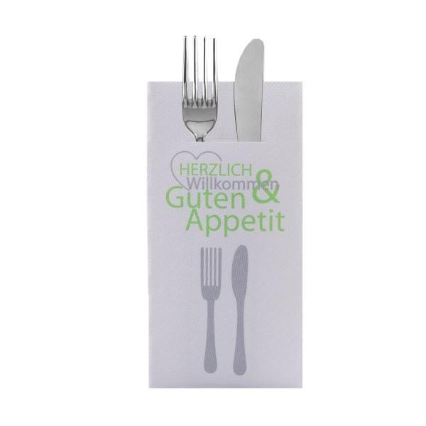 Besteckserviette Herzlich Willkommen in Grün aus Tissue Deluxe®, 4-lagig, 40 x 40 cm, 100 Stück