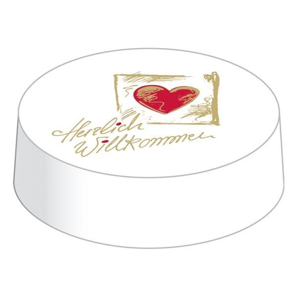 Glasabdeckungen aus hochwertigem Karton, Herzlich Willkommen, Ø 74 mm, 200 Stück