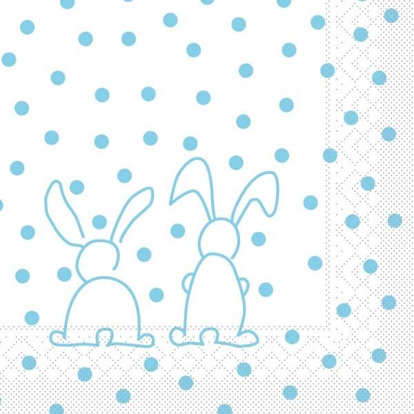 Serviette Rabbits in Türkis aus Tissue 33 x 33 cm, 20 Stück