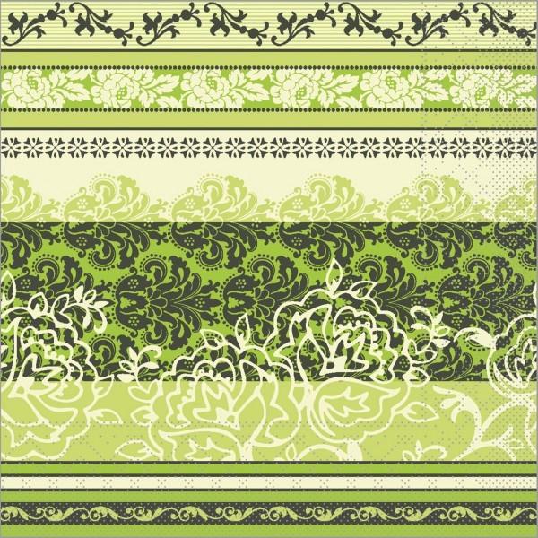 Serviette Thea in lime aus Tissue 33 x 33 cm, 100 Stück
