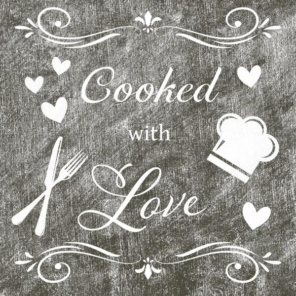 Serviette Cooked with Love aus Linclass® Airlaid 40 x 40 cm, 12 Stück