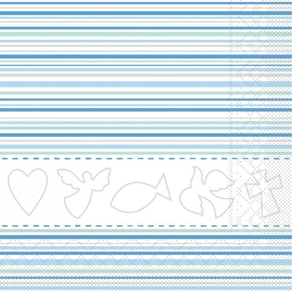 Serviette Kommunion/Konfirmation in Weiß-Blau aus Tissue 33 x 33 cm, 20 Stück