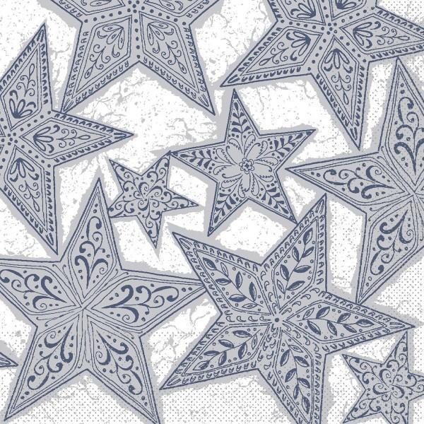 Serviette Gitte in Silber-Blau aus Tissue 33 x 33 cm, 100 Stück
