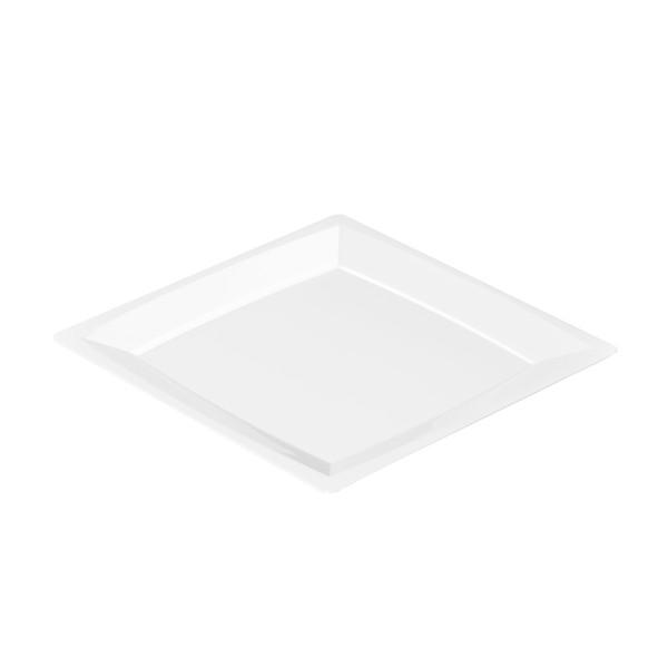 Einweg-Teller MILAN in L aus Plastik, 21 x 21cm, Weiss, 12 Stück