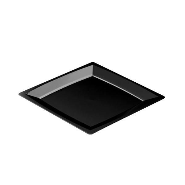 Einweg-Teller MILAN in M aus Plastik, 17,2 x 17,2 cm, Schwarz, 24 Stück