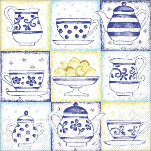 Serviette Cookie in blau aus Tissue 33 x 33 cm, 100 Stück
