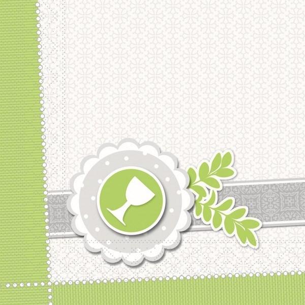 Serviette Kelch-Taube in grün aus Tissue 33 x 33 cm, 100 Stück