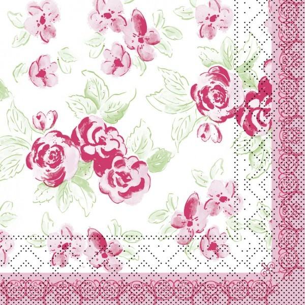 Serviette Country Line in Rosa-Grün aus Tissue 33 x 33 cm, 20 Stück