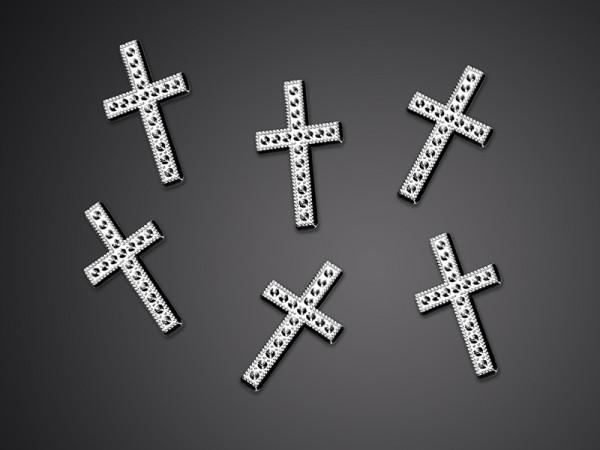 Verzierung Kreuz, silber, 25 Stück