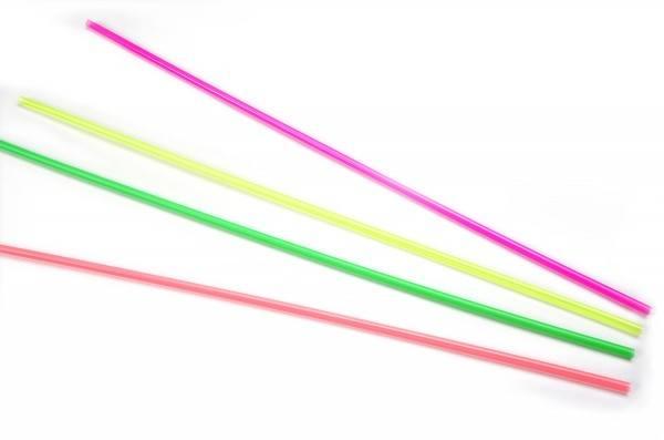 Trinkhalm aus Plastik in Neonfarben, farblich sortiert, Ø 6 mm / 50 cm, 100 Stück