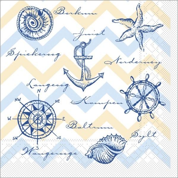 Serviette Maritim in blau aus Tissue 33 x 33 cm, 100 Stück