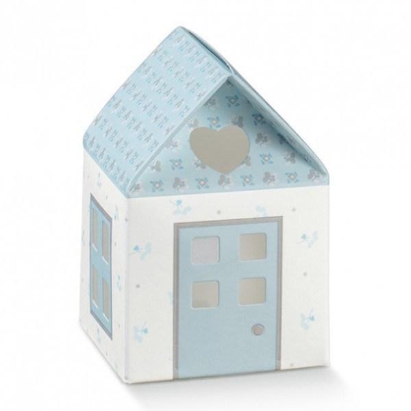 Gastgeschenk Geschenkbox Häuschen in Hellblau, 1 Stück