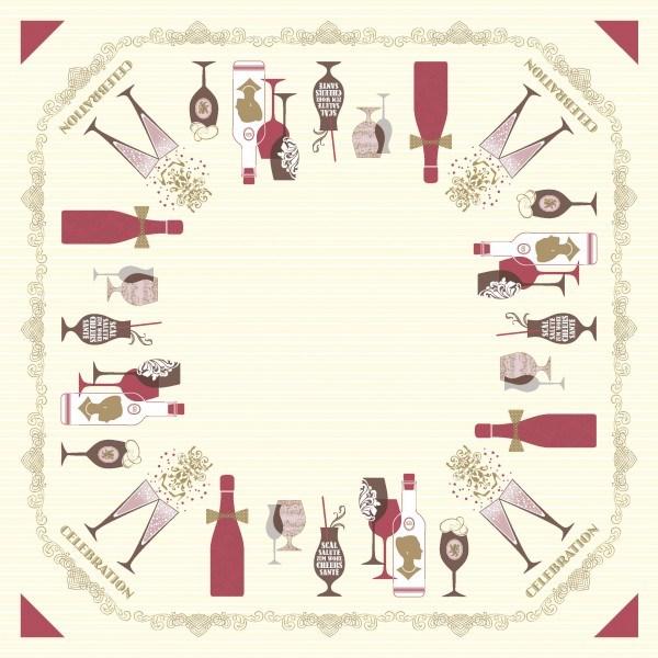 Tischdecke Celebration in Champagner-Bordeaux aus Linclass® Airlaid 80 x 80 cm, 20 Stück