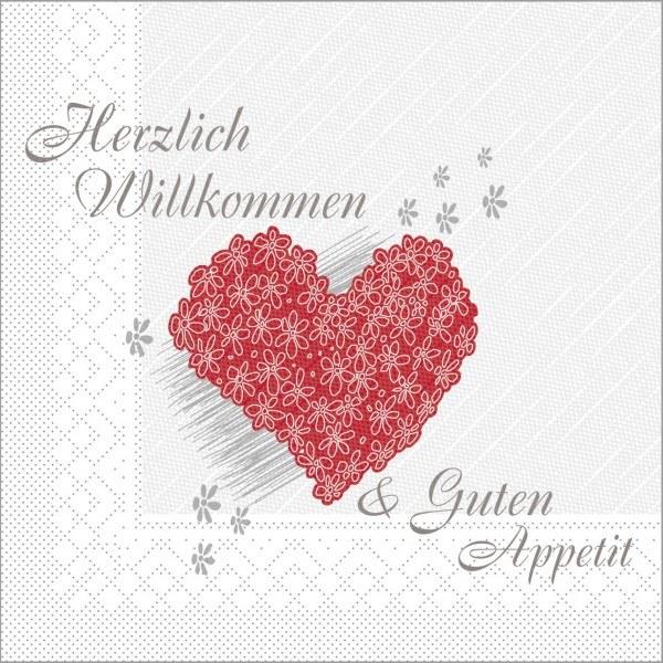 Serviette Herzlich Willkommen in Weiß aus Tissue Deluxe®, 4-lagig, 40 x 40 cm, 50 Stück